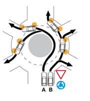 So wird ein zweispuriger Kreisel richtig befahren. (Bild: TCS)