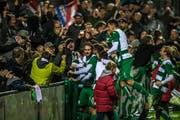 Jubel nach dem verwandelten Penalty von Sigrist zum 2:1 für den SC Kriens. (Bild: Dominik Wunderli)