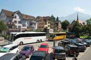 Situation auf dem Steinmättli-Parkplatz am vergangenen Donnerstag, 15. August (Feiertag). (Bild: PD)