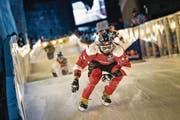 Kilian Braun bei einem «Red Bull Crashed Ice»-Weltmeisterschaftslauf in Kanada. (Bild: Sebastian Marko (Quebec, 28. November 2015))