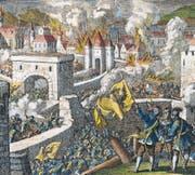 Kaiserliche Truppen erobern und zerstören am 20. Mai 1631 die Stadt Magdeburg. Ausschnitt aus einer Radierung von Jan und Caspar Luyken, neu koloriert. (Bild: AKG)