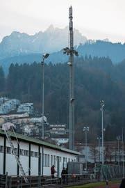 Die Mobilfunkantenne beim Kleinfeld-Stadion.