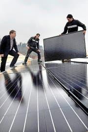 Rolf Hunkeler, Chef der 1a Hunkeler (links), bei der Installation der Fotovoltaik-Anlage auf dem Firmensitz in Ebikon. (Bild: Nadia Schärli)