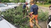 In der Zuger Innenstadt und in Cham standen die jeweiligen Feuerwehren der Gemeinden mehrfach im Einsatz, um Bäume von Strassen zu räumen. (Bild: PD)