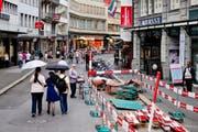 So wie am Grendel - das Bild stammt vom 7. Juli 2014 - wird in den nächsten Monaten in der Luzerner Altstadt gebaut. (Bild Philipp Schmidli)