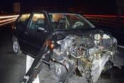 Nach dem Unfall war das Auto nicht mehr zu gebrauchen. (Bild: Luzerner Staatsanwaltschaft)