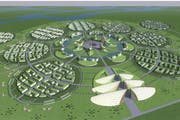 Wo die Einwohner heute in Jurten und Holzhäusern wohnen, werden für sie bis 2030 moderne Siedlungen errichtet - konzipiert von Architekt Marco Wey. (Bild: Visualisierung PD)