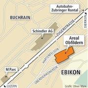 Auf dem Areal Obfildern in Ebikon sind 220 Wohnungen geplant. (Bild: Grafik Oliver Marx)