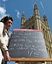 Umfragen sagen May einen deutlichen Vorsprung voraus. (Bild: Andy Rain/EPA (London, 18. April 2017))