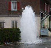 Die Kollision mit dem Hydrant verursachte einen Wasserschaden. (Bild: Luzerner Polizei)