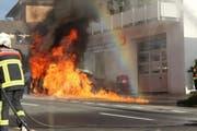 Die Feuerwehr konnte den Brand rasch löschen. (Bild Feuerwehr Michelsamt)