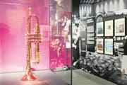 """Die Trompete von Miles Davis zeigt sich in der Ausstellung """"Montreux. Jazz seit 1967"""" im Landesmuseum in Zuerich, aufgenommen am Donnerstag, 18. Januar 2018. (KEYSTONE/Ennio Leanza) (Bild: Ennio Leanza / Keystone (Zürich, 18. Januar 2018))"""