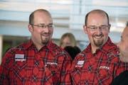 Wer ist jetzt wer? Freddy (links) und Stefan Fankhauser am gestrigen Zwillingstreffen, das zum 40. Mal vom Luzerner Zwillingsverein organisiert wurde. (Bild: Nadia Schärli (Nottwil, 8. April 2017))