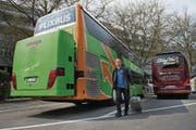 Nermin Ridic ist einer von zwei Passagieren, die gestern mit dem ersten Flixbus nach Luzern fuhren. (Bild: Eveline Beerkircher (6. April 2017))