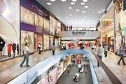 Die Eröffnung der Mall of Switzerland ist für Ende 2017 geplant: So soll es dereinst im grössten Einkaufscenter der Zentralschweiz aussehen. (Bild: Visualisierung / pd)