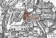 Auf dem Bild von 1597 erkennt man die Spitalkirche (dunkelrot) und das Heiliggeistspital (hellrot). Vorne die Franziskanerkirche. (Bild: PD)