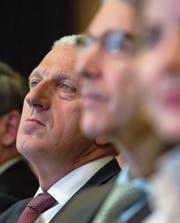 Pierin Vincenz an einer Helvetia-Generalversammlung. (Bild: Gian Ehrenzeller/Keystone (St. Gallen, 24. April 2015))