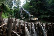 Das Sammelbecken des Trubikerbachs in Oberwil hat sich durch starke Regenfälle aufgefüllt. (Bild Stefan Kaiser)