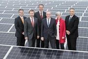 Die Luzerner Regierung. Von links: Lukas Gresch (Staatsschreiber), Marcel Schwerzmann, Reto Wyss, Robert Küng, Yvonne Schärli und Guido Graf. (Bild: Bruno Eberli)