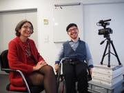 Frau Landammann Manuela Weichelt und der Video-Blogger Jahn Graf. (Bild: PD)