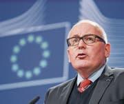 EU-Vizekommissionschef Frans Timmermans am gestrigen Treffen zum Fall der Rechtsstaatlichkeit in Polen in Brüssel. (Bild: Stephanie Lecocq/EPA)