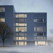 Aussenansicht des Neubaus Musik der Hochschule Luzern in Kriens. (Bild: Visualisierung Enzmann Fischer & Büro Konstrukt AG)