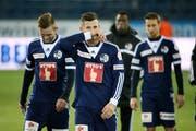 Luzerns Jakob Jantscher, Remo Freuler und Jérôme Thiesson (von links) nach dem Super League Spiel zwischen dem FC Luzern und dem FC Basel. (Bild: Philipp Schmidli)
