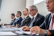 Der Regierungsrat bei der Vorstellung der Sparmassnahmen am Mittwoch. (Bild: Nadia Schärli (Luzern, 28. Juni 2017))
