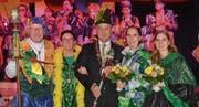 In offizieller Mission: Der Zeremonius Donald I. Basan, Zunftmutter Sibylle Küttel, Zunftmeister Markus II. Sidler und zwei der drei Ehrendamen, Corinne und Sabrina Sidler (von links). (Bild: PD (Inwil, 13. Januar 2017))