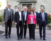 Der Krienser Gemeinderat: Lothar Sidler, Cyrill Wiget, Franco Faé, Judith Luthiger-Senn, Guido Solari und Matthias Senn. (Bild: PD)
