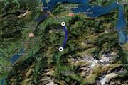 Auf der Zufahrtsstrasse nach Engelberg wird es zwischen Stans und Grafenort (blaue Markierung) zu diversen Verkehrsbehinderungen kommen. (Bild: Karte search.ch)