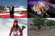Vier von vielen Ereignissen, die das Jahr 2014 prägten (von oben links im Uhrzeigersinn): Pilatus-Chef Oscar J. Schwenk freut sich über den PC-24, erfolgreiche Berufsabsolventen an den Swisskills in Bern, Zerstörung nach Unwetter in Schüpfheim und Abfahrtsgold für Dominique Gisin in Sotschi. (Bild: Keystone / Neue LZ)