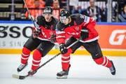 Die Kanadier begeistern in Prag das Publikum. Auch dank den Angreifern Sidney Crosby (links) und Jason Spezza. (Bild: Freshfocus/Andy Müller)