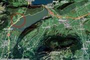 Die Stelle auf der A8, wo gegenwärtig Bauarbeiten durchgeführt werden. (Bild: search.ch)