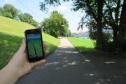 So sieht die Strecke zum Pokéstop beim Richard-Wagner-Museum auf dem Smartphone aus. (Bild: Stefanie Nopper / Luzernerzeitung.ch)