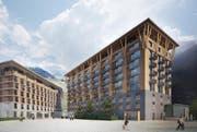 So soll das neue Hotel mit dem Residenzgebäude dereinst aussehen. (Bild: Visualisierung pd / nightnurse images GmbH)