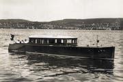 Die Jacht Meggenhorn bei einer Probefahrt auf dem Zürichsee im Jahre 1926. (Bild: PD)