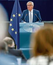 Jean-Claude Juncker im EU-Parlament. (Bild: Mathieu Cugnot/EPA (Strassburg, 13. September 2017))