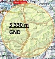 22 Kilometer um Erstfeld wird der Luftraum gesperrt. (Bild: PD)