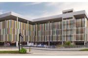 Die neue Parkhausfassade des Emmen Center. (Bild: pd)