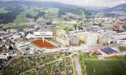 Die Pilatus-Arena soll neben der geplanten Mobimo-Überbauung bei der S-Bahn-Haltestelle Mattenhof entstehen. (Bild: Visualisierung: PD)