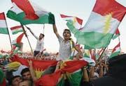 Demonstration für das Unabhängigkeitsreferendum im Franso-Hariri-Stadion in Erbil, Nordirak. (Bild: Mohamed Messara/EPA)