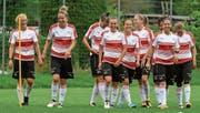 Die Frauen-Fussballnationalmannschaft im Training. Ganz rechts die Zugerin Sandra Betschart. (Bild: Andy Mueller/Freshfocus (Heelsum, 12. Juli 2017))