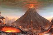 Weltweit verheerende Folgen: Bilder des gigantischen Ausbruchs des Vulkans Tambora auf der indonesischen Insel Sumbawa von 1815 gibt es keine, aber ungefähr so könnte das Inferno ausgesehen haben. (Bild: Illustration PD)