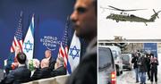 Alle Augen auf Trump: zuerst bei der Landung in Davos (rechts oben), dann bei seiner Ankunft im Hotel Intercontinental (rechts unten) und zuletzt im Gespräch mit Israels Ministerpräsidenten Benjamin Netanjahu. (Bilder: Evan Vucci/AP, Gian Ehrenzeller/Keystone, Carlos Barria/Reuters (Davos, 25. Januar 2018))