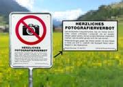 Eine der Verbotstafeln in Bergün. (Bild: PD/Gemeinde Bergün)