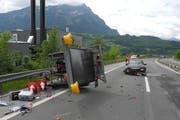 Die Unfallstelle in Brunnen. (Bild Kantonspolizei Schwyz)