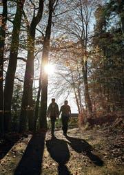 Wie dieses Paar gestern in Horw wird es am Wochenende viele Sonnenhungrige in die Natur ziehen. (Bild Manuela Jans-Koch)