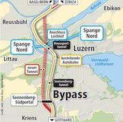 Der Abschnitt zwischen der bestehenden Autobahn und dem neuen Tunnel ist aus Krienser Sicht der Knackpunkt (rot markiert). (Bild: Grafik: web, Oliver Marx, Janina Noser)