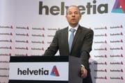 Der CEO der Helvetia Versicherungen Philipp Gmür äusserte sich an der Bilanzmedienkonferenz auch zur Affäre Pierin Vincenz. (Bild: Keystone)